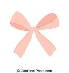 arco, cinta rosa, icono, decoración, regalo