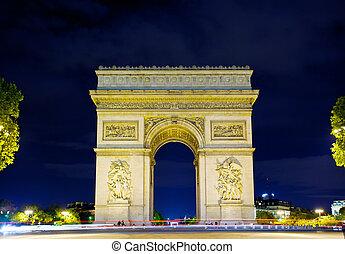 Arco de triunfo por la noche, París, Francia