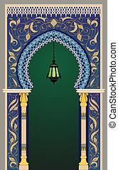 Arco decorativo islámico con linterna