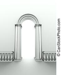 arco, entrada, columnas, clásico, balaustrada