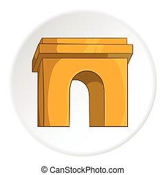Arco icono, estilo de dibujos animados