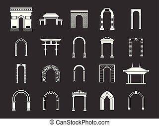 Arco icono fijado vector gris