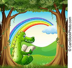 arco irirs, árbol, cocodrilo, debajo, debajo, lectura