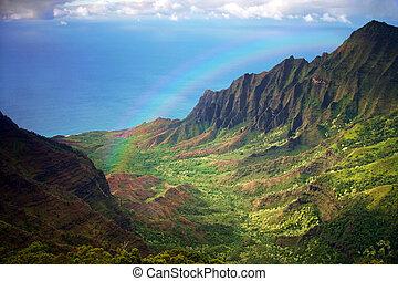 arco irirs, aéreo, fron, litoral, kauai, vista
