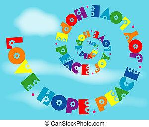 arco irirs, amor, alegría, paz, espiral, esperanza