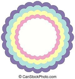 arco irirs, círculo, plantilla, color, ondulado, pastel, marco
