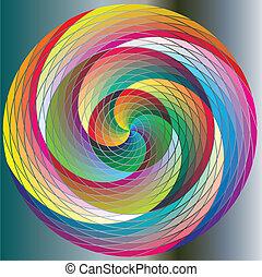 arco irirs, círculos, multicolor, giro