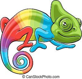 arco irirs, carácter, caricatura, camaleón