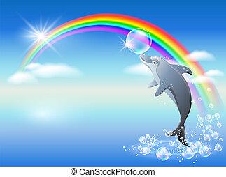 arco irirs, delfín