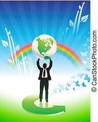 arco irirs, empresa / negocio, conservación ambiental, plano de fondo, hombre