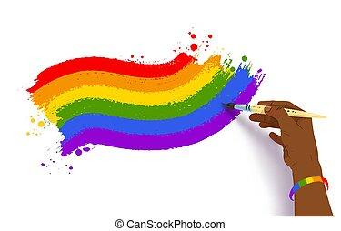 arco irirs, lgbt, norteamericano, dibujo, mano, africano, bandera