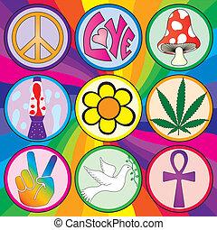 arco irirs, nueve, plano de fondo, 60s, iconos