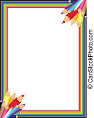 arco irirs, vector, frontera, lápiz