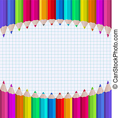 Arco Iris de lápices en los antecedentes de papel