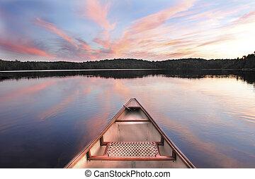 arco, ocaso, lago, canoa