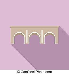 arco, piedra, río, plano, puente, vector., icono