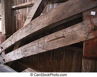 arco, restaurado, vista, puente, cubierto, 1844, cierre, rebaba, arriba, braguero, viejo