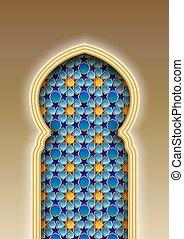 arco, tradicional, árabe, patrón, islámico