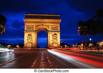 Arco triunfal por la noche
