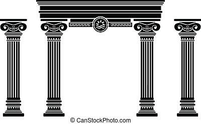 Arco y columnas de fantasía. Stencil