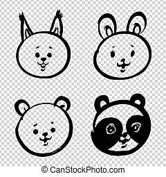 ardilla, aislado, caras, liebre, imitación, caricatura, grueso, lindo, transparente, oso, garabato, panda, pintado, bebé, golpes, plano de fondo, pincel