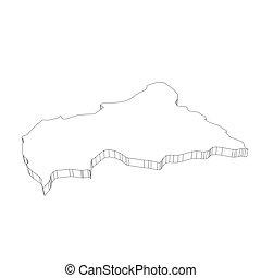 area., 3d, africano, país, delgado, mapa, contorno, -, central, ilustración, plano, vector, simple, república, negro, silueta