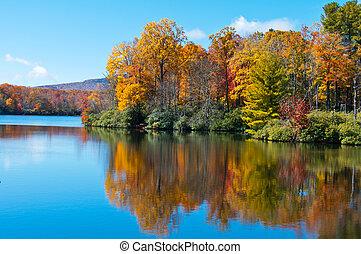 arista azul, precio, reflejado, superficie, lago, follaje, otoño, parkway