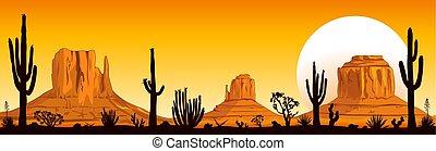 arizona, desierto, ocaso