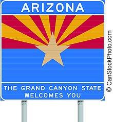 arizona, señal, indique camino