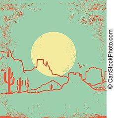 arizona, sol, textura, cañón, papel, vendimia, amarillo, paisaje, cactus, silueta, viejo, desierto, cactuses.