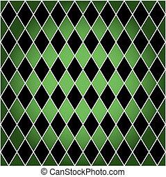 Arlequín sin semen, verde y negro