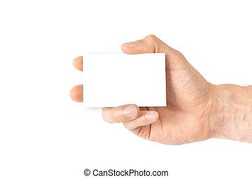 arm., plantilla, valor en cartera instrumentos de crédito, card., mano, empresa / negocio, vacío, persona, blanco, credito, aislado, fondo., tarjeta, blanco