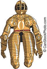 armadura, caballero, vector, medieval
