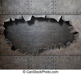 Armadura de metal dañada con un agujero de fondo punk