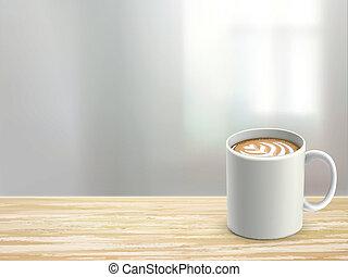 Armario de escritorio de madera y café en la habitación