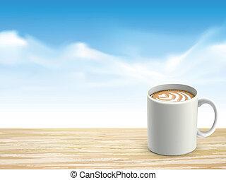 Armario de escritorio de madera y café sobre el cielo azul