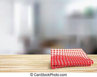 Armario de escritorio de madera y mantel en la habitación