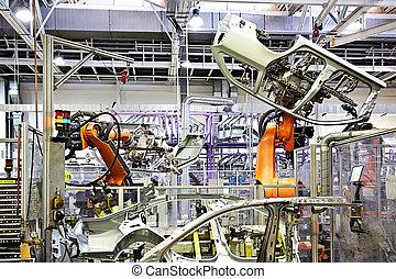 Armas robotizadas en una fábrica de coches