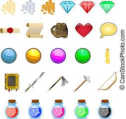 armas, rollosde papel, conjunto, rpg, botones, iconos, libros, dinero, pociones, juego, vector, ilustración, cristales, guerrero, mage