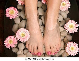 aromático, pedispa, baño, relajante, pie
