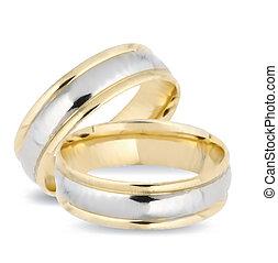 Aros de oro de boda. Vector