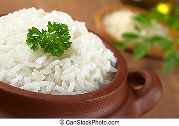 around), tazón, perejil, foco, rústico, cocinado, foco, (selective, arroz blanco, adornado