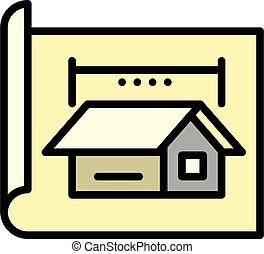 arquitecto, contorno, cabaña, estilo, icono, proyecto