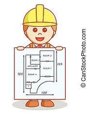 Arquitecto mostrando el plan de construcción