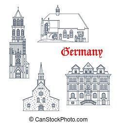 arquitectura, alemán, viaje, alemania, iconos, señales