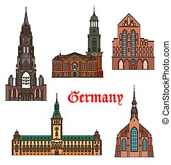 arquitectura, alemania, señales, lubeck, hamburgo