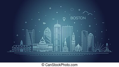 arquitectura, cityscape, lineal, señales, contorno, boston, famoso, línea, illustration., vector