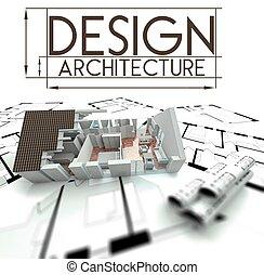 Arquitectura de diseño, proyecto de casa en planos