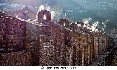 Arquitectura del viejo pueblo de Tbilisi, en el distrito de Abanotubani