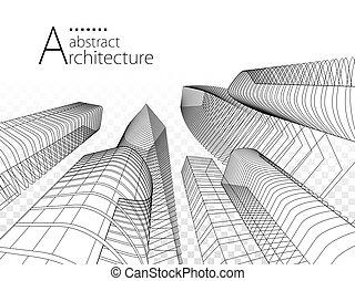 arquitectura moderna, ilustración, urbano, 3d, edificio, design.